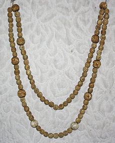 Chinese carved bone and ivory beads long necklace