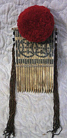 Chinese Yao ethnic minority bone hair ornament comb