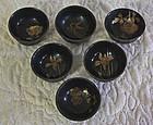 Set of 6 antique Japanese lacquerware sake cups