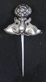Vintage Chinese Ethnic Minority silver hairpin buterfly
