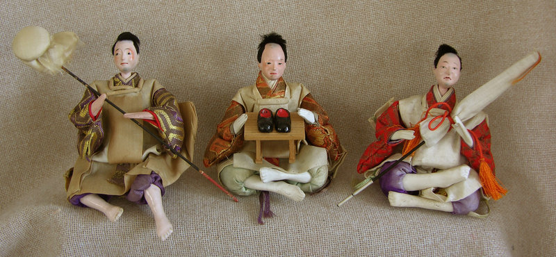 Meiji Girls Day Hina Dolls set of 3 small attendants