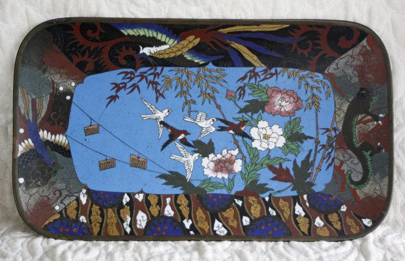 Lovely Meiji Wireless Cloisonne tray 12.5 inches wide