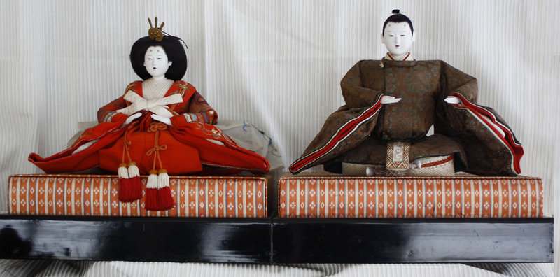 Large Emperor and Empress Hina Dolls signed