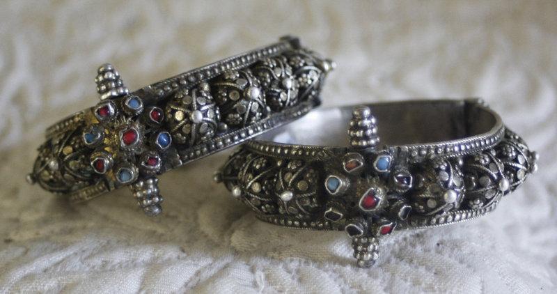 Pair of matching tribal hinged bracelets Raj India