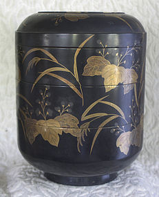 Meiji Period Japanese Lacquer 3 tier covered round box