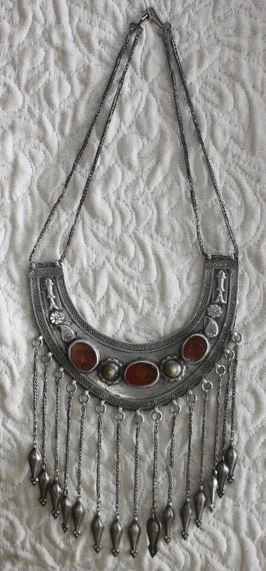 antiques silver Turkoman necklace with cornelians