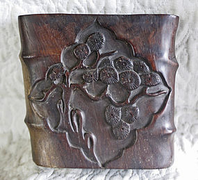 dense fine grained hard wood carved ikabana vase