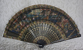 Japanese Export silk painted fan with lacquer struts