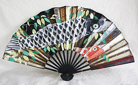 signed Japanese Paper fan with Painted lacquer mons on ends