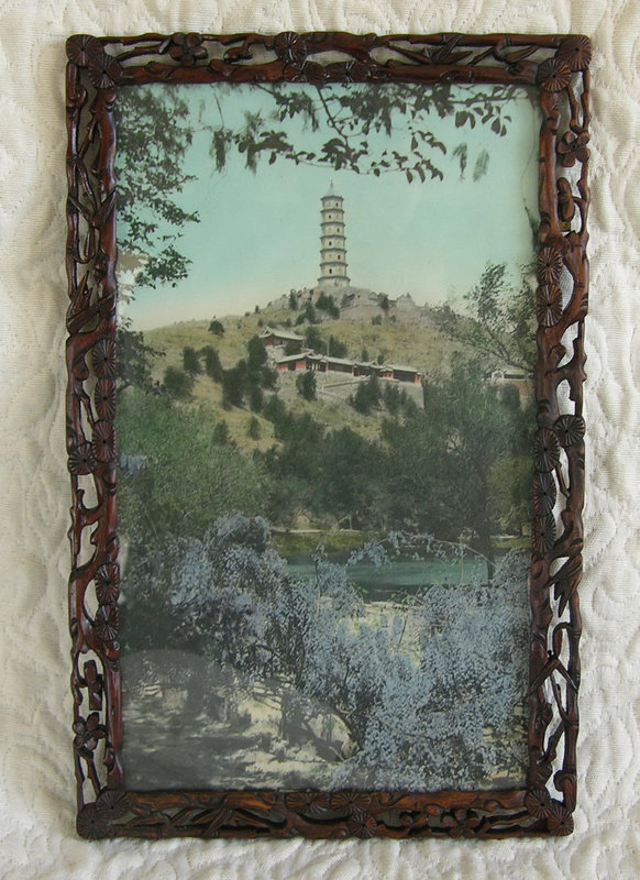 Hand carved Antique wood frame with Lithograph of Summer Palace