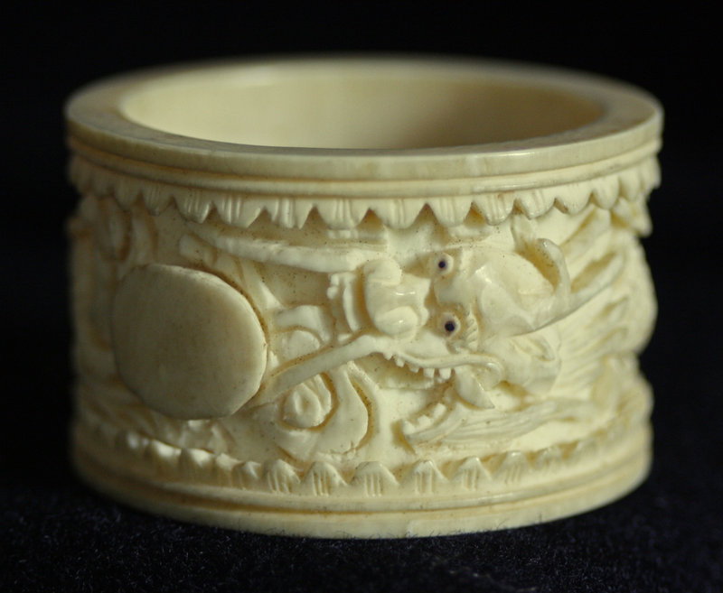 Antique Chinese carved  ivory napkin ring