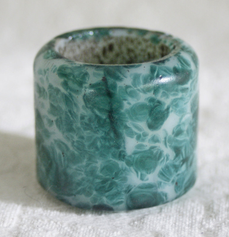 Unusual Antique Chinese Peking glass archers ring