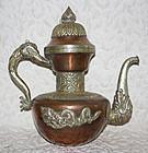Large Antique Copper and Silver Tibetan Teapot