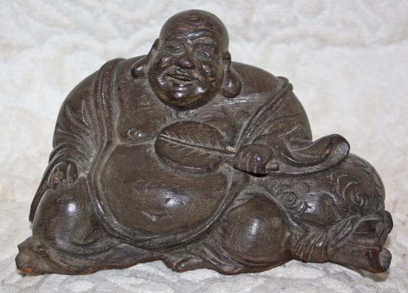Antique Chinese small carved wooden fat reclining Buddha