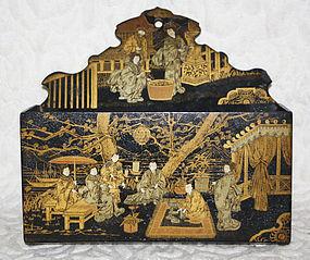 Antique Japanese Meiji Period lacquer wood letter box