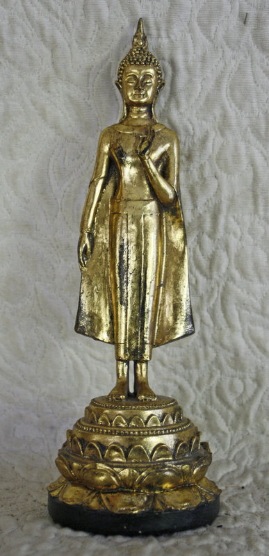 Antique Japanese gilded lacquer standing Buddha
