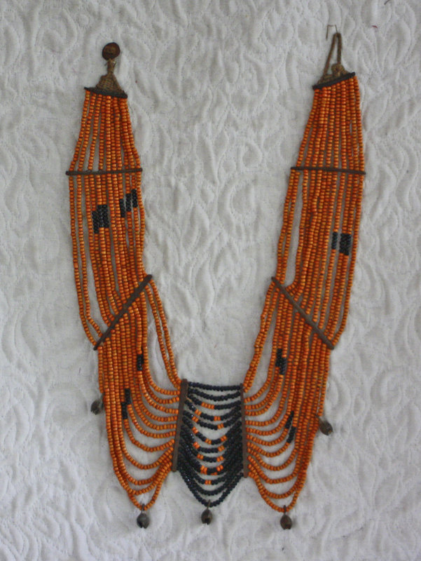 Fine Antique African Beaded necklace with cast bronze fillings