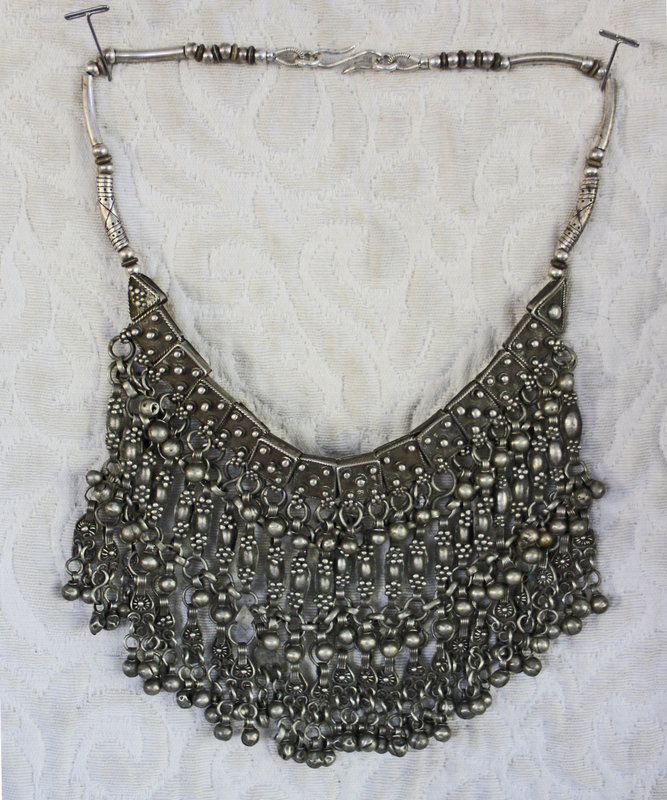 Antique Tribal silver Middle Eastern Womans Labbeh necklace