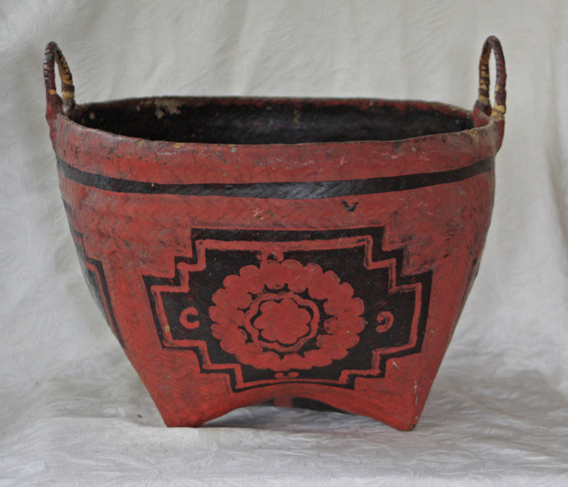 Antique Chinese large  painted kitchen basket used for rice storage