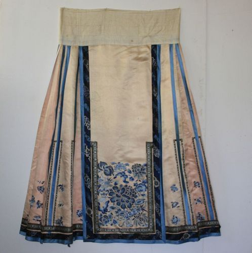Antique Chinese silk embroidered Wedding Skirt Qing Dynasty