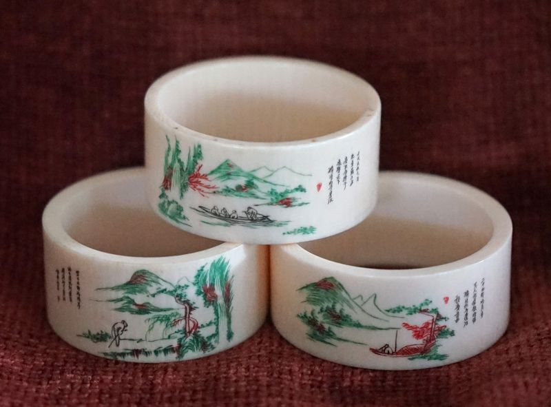 Chinese vintage pair of hand painted ivory napkin rings