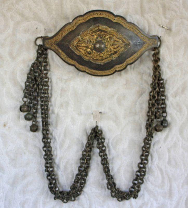 Antique Mongolian Chain belt with large Medallion