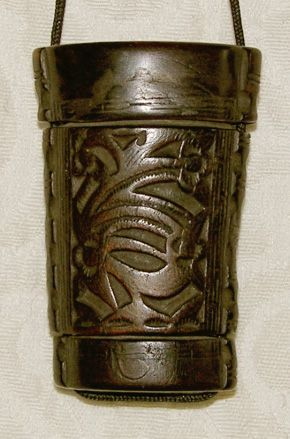 Antique Chinese ethnic minority Miao carved horn Inro