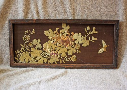 Antique Japanese embroidered panel