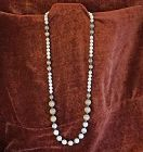 vintage long necklace of mixed white and beige picture Jasper beads