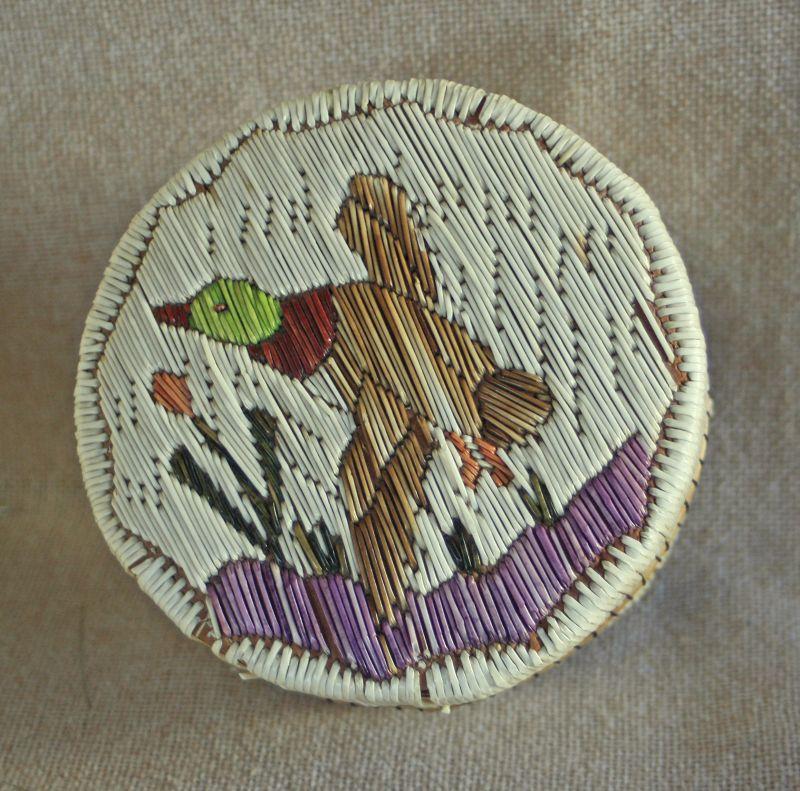 Vintage Mic Mac tribal quill work trinket box