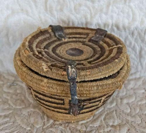 Antique Tibetan woven food bowl tea bowl container