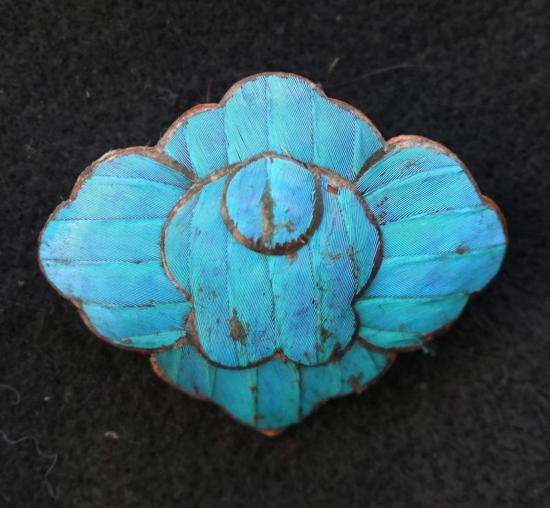 Antique Qing Dynasty Chinese kingfisher feather ornament