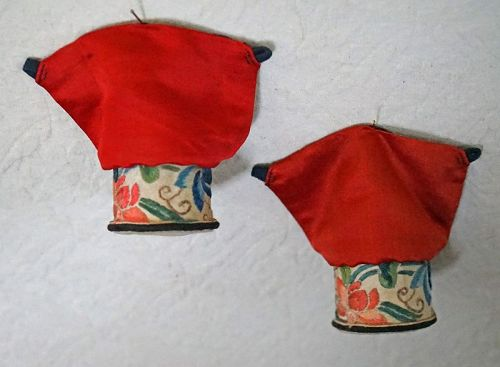 Antique Chinese Pair of embroidered Lotus Shoe Heels