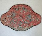 Antique Chinese Qing Dynasty Lotus Shaped Pillow cover