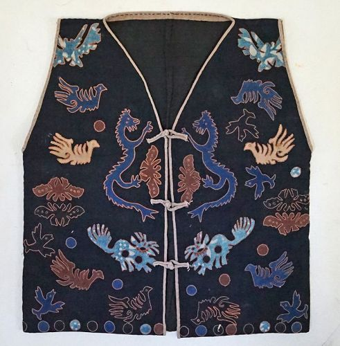 Vintage Miao Chinese Ethnic Minority Hand embroidered animal vest