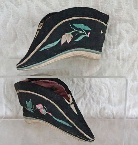 Antique Chinese silk embroidered lotus shoes