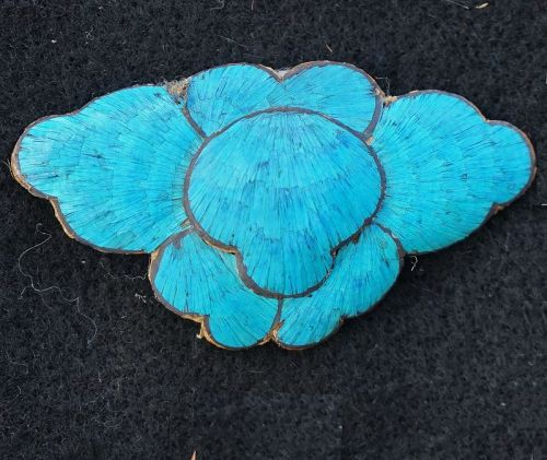 Antique Chinese Qing Dynasty Kingfisher feather ornament