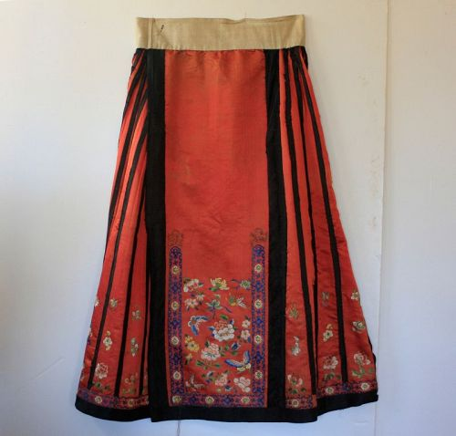 antique Qing Dynasty Chinese red silk embroidered skirt
