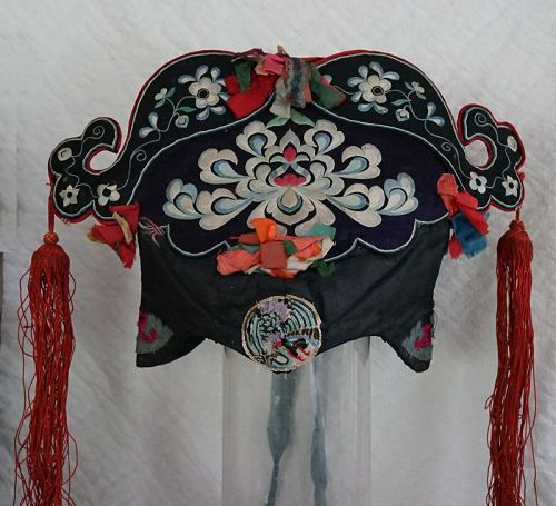Antique Han Chinese traditional embroidered Lady's silk hat