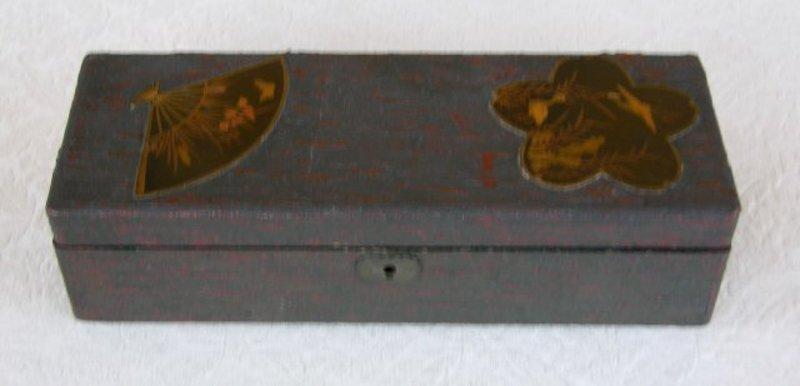 Antique Japanese treebark lacquerware box