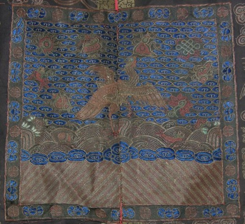 Chinese embroidered silk vest with dragons rank badge