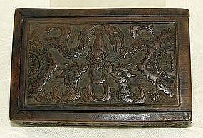 Antique Chinese carved wooden box with  dragon