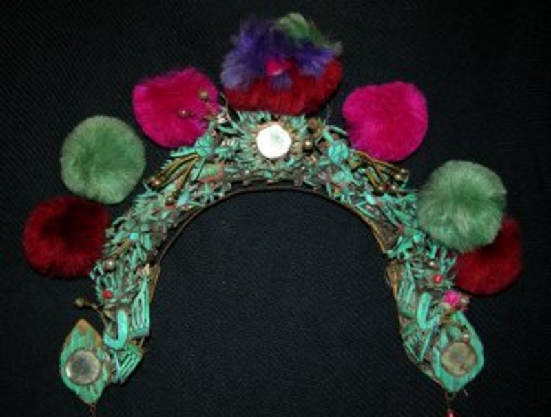 Antique Chinese Kingfisher Feather Wedding Crown