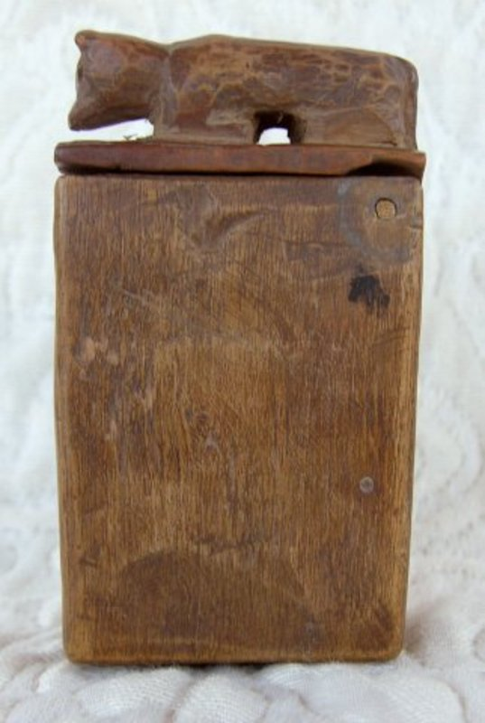 Old Chinese hand carved wooden matchbox cover