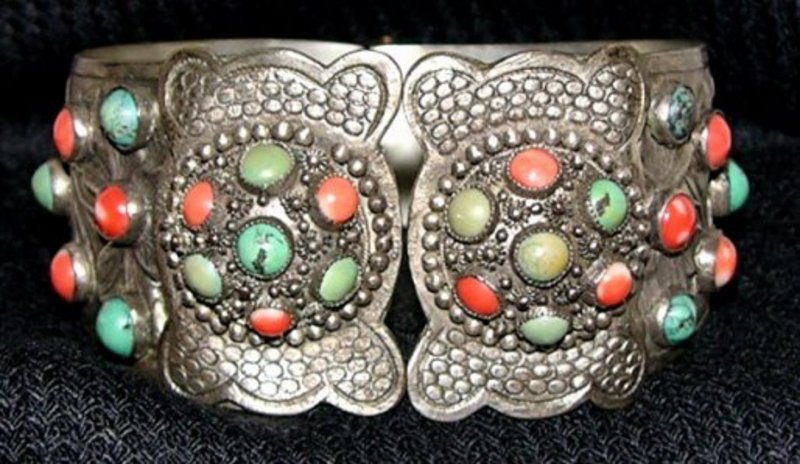 Hinged Chinese Silver Bracelet with coral & turquoise