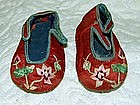 Chinese infants pair of silk embroidered shoes