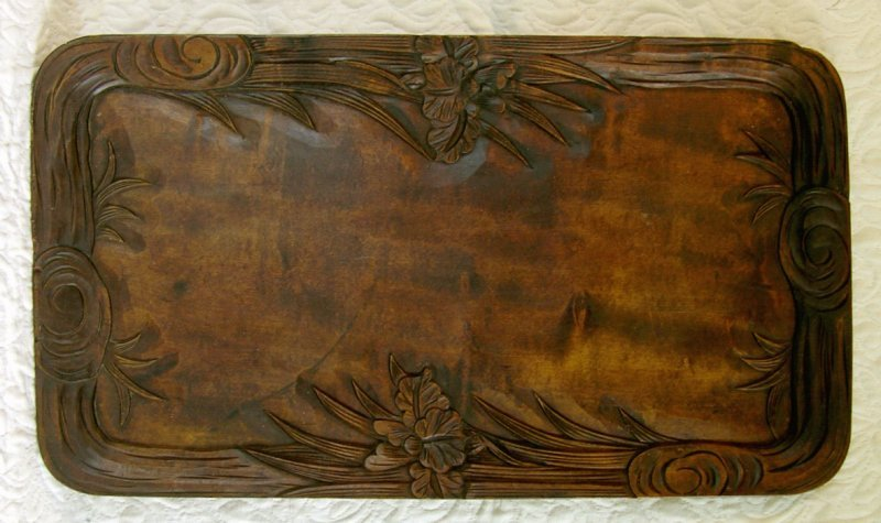 Large meiji period Japanese hand carved wooden tray