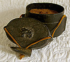 Edo Japanese tobacco box lacquerware horn toggle