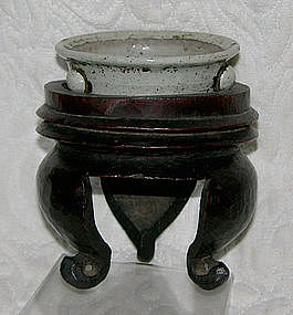 Stoneware Incense burner with hand carved wooden stand