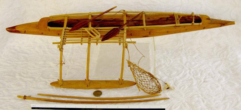 Polynesian ocean fishing Outrigger Canoe folk art Model